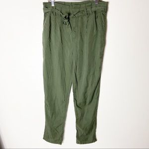 Gap Women Olive Green Size 10 Paper Bag Pants